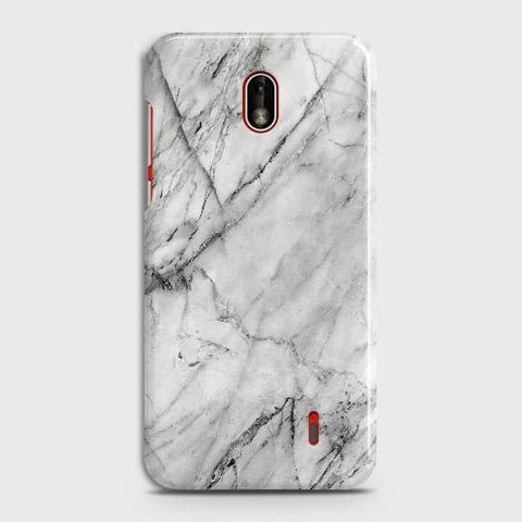 Nokia 1 Plus Cover - Trendy White Floor Marble Printed Hard Case with Life Time Colors Guarantee