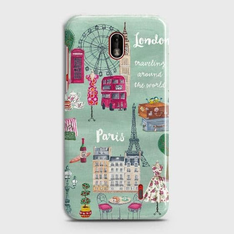 Nokia 1 Plus Cover - London, Paris, New York ModernPrinted Hard Case with Life Time Colors Guarantee