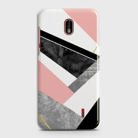 Nokia 1 Plus Cover - Geometric Luxe Marble Trendy Printed Hard Case with Life Time Colors Guarantee
