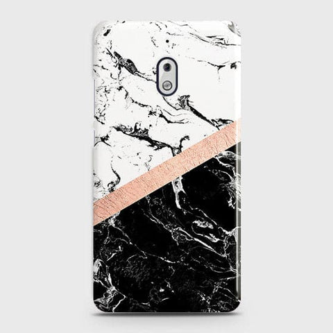 3D Black & White Marble With Chic RoseGold Strip Case For Nokia 2.1