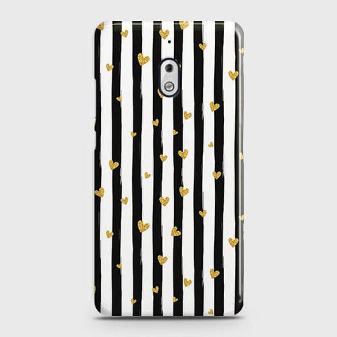 Trendy Black & White Strips With Golden Hearts Hard Case For Nokia 2.1