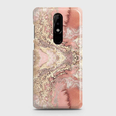 Trendy Chic Rose Gold Marble 3D Case For Nokia 3.1 Plus