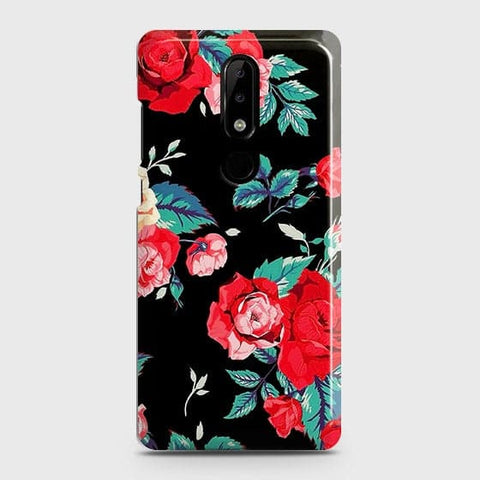 Luxury Vintage Red Flowers Case For Nokia 3.1 Plus