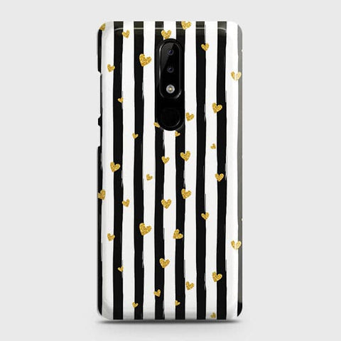 Trendy Black & White Strips With Golden Hearts Hard Case For Nokia 3.1 Plus