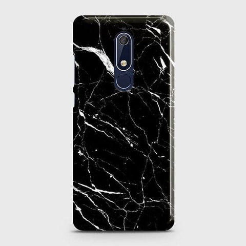 Nokia 5.1 Cover - Trendy Black Marble Printed Hard Case with Life Time Colors Guarantee