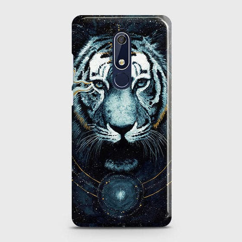 Nokia 5.1 Cover - Vintage Galaxy Tiger Printed Hard Case with Life Time Colors Guarantee