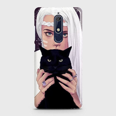 Nokia 5.1 Cover - Trendy Wild Black Cat Printed Hard Case with Life Time Colors Guarantee