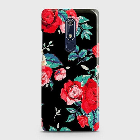Nokia 5.1 Cover - Luxury Vintage Red Flowers Printed Hard Case with Life Time Colors Guarantee