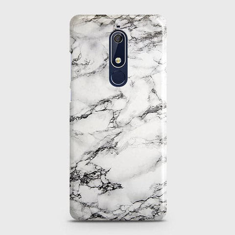 Nokia 5.1 Cover - Trendy White Floor Marble Printed Hard Case with Life Time Colors Guarantee