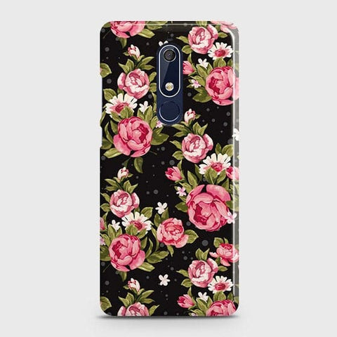 Nokia 5.1 Cover - Trendy Pink Rose Vintage Flowers Printed Hard Case with Life Time Colors Guarantee