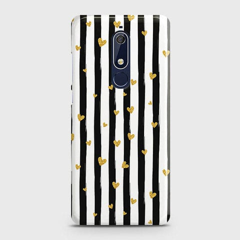 Nokia 5.1 Cover - Trendy Black & White Strips With Golden Hearts Printed Hard Case with Life Time Colors Guarantee