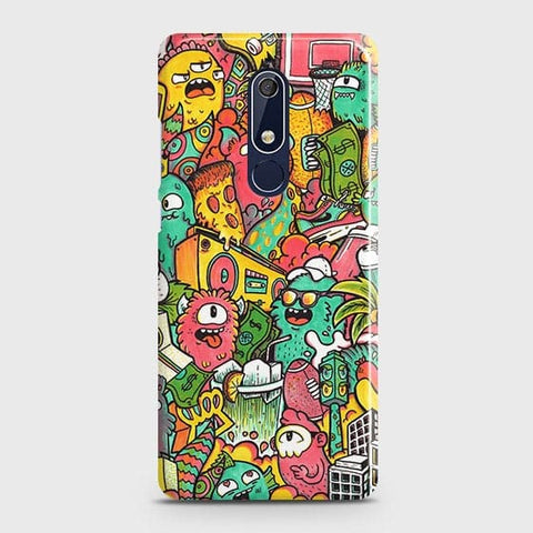 Nokia 5.1 Cover - Candy Colors Trendy Sticker Bomb Printed Hard Case with Life Time Colors Guarantee