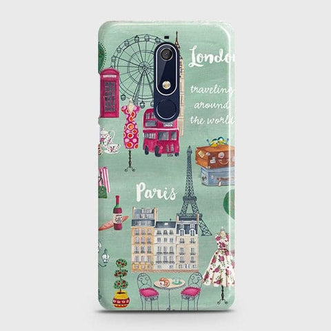 Nokia 5.1 Cover - London, Paris, New York ModernPrinted Hard Case with Life Time Colors Guarantee