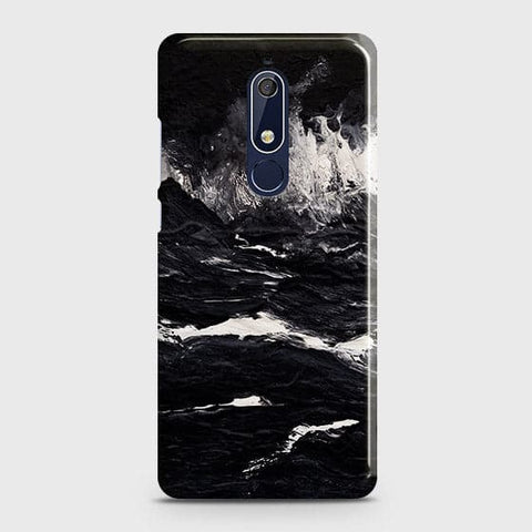 Nokia 5.1 Cover - Black Ocean Marble Trendy Printed Hard Case with Life Time Colors Guarantee