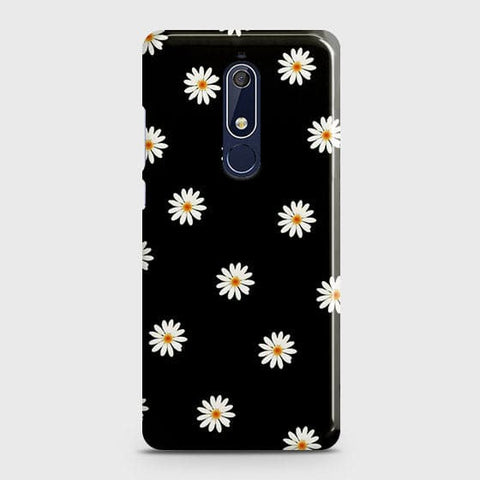 Nokia 5.1 Cover - White Bloom Flowers with Black Background Printed Hard Case with Life Time Colors Guarantee