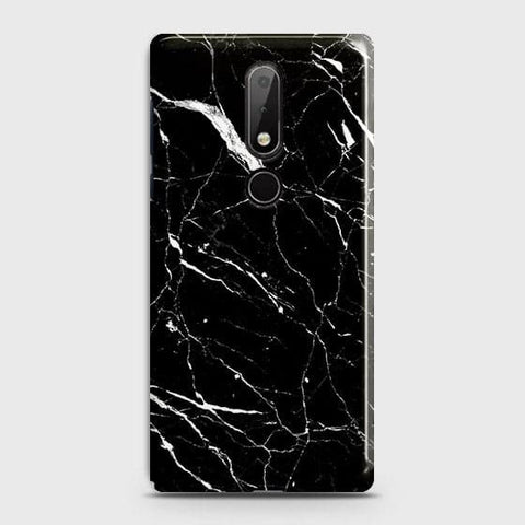 Nokia 7.1 Cover - Trendy Black Marble Printed Hard Case with Life Time Colors Guarantee