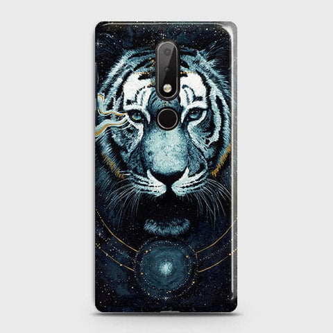 Nokia 7.1 Cover - Vintage Galaxy Tiger Printed Hard Case with Life Time Colors Guarantee