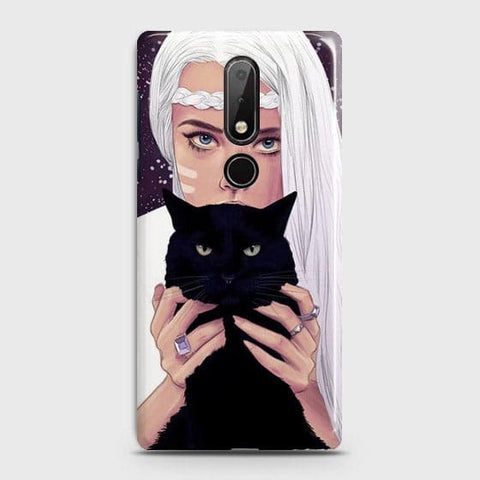 Nokia 7.1 Cover - Trendy Wild Black Cat Printed Hard Case with Life Time Colors Guarantee