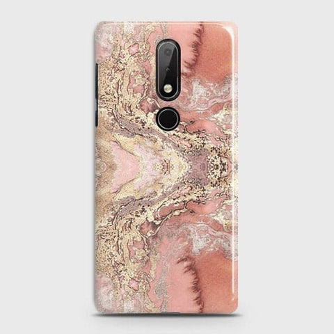 Nokia 7.1 Cover - Trendy Chic Rose Gold Marble Printed Hard Case with Life Time Colors Guarantee