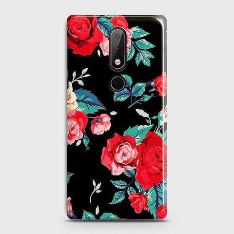 Nokia 7.1 Cover - Luxury Vintage Red Flowers Printed Hard Case with Life Time Colors Guarantee