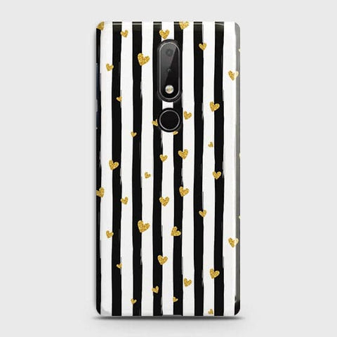 Nokia 7.1 Cover - Trendy Black & White Strips With Golden Hearts Printed Hard Case with Life Time Colors Guarantee