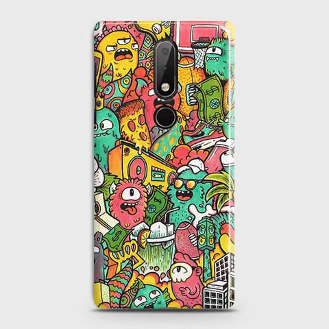 Nokia 7.1 Cover - Candy Colors Trendy Sticker Bomb Printed Hard Case with Life Time Colors Guarantee