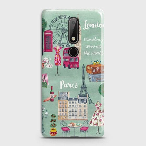 Nokia 7.1 Cover - London, Paris, New York ModernPrinted Hard Case with Life Time Colors Guarantee