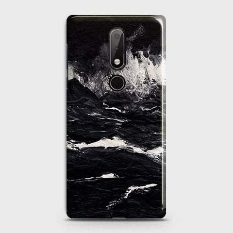 Nokia 7.1 Cover - Black Ocean Marble Trendy Printed Hard Case with Life Time Colors Guarantee