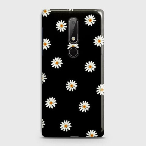 Nokia 7.1 Cover - White Bloom Flowers with Black Background Printed Hard Case with Life Time Colors Guarantee