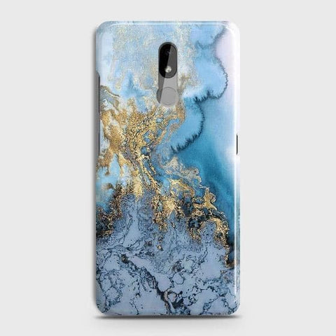 Nokia 3.2 Cover - Trendy Golden & Blue Ocean Marble Printed Hard Case with Life Time Colors Guarantee