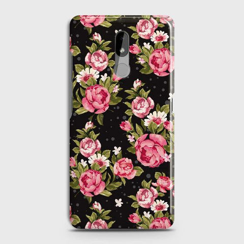Nokia 3.2 Cover - Trendy Pink Rose Vintage Flowers Printed Hard Case with Life Time Colors Guarantee
