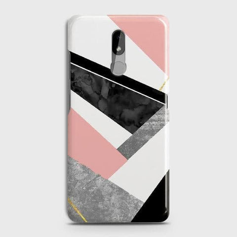 Nokia 3.2 Cover - Geometric Luxe Marble Trendy Printed Hard Case with Life Time Colors Guarantee