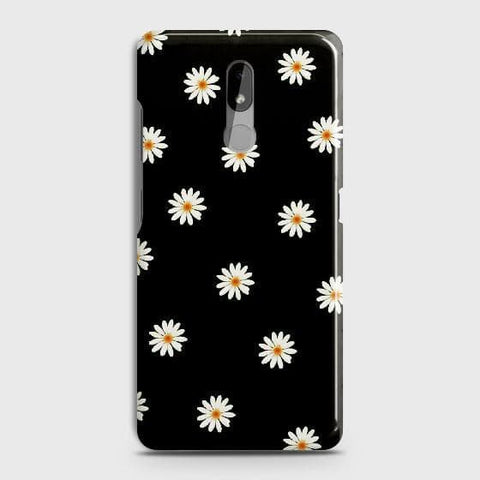 Nokia 3.2 Cover - White Bloom Flowers with Black Background Printed Hard Case with Life Time Colors Guarantee