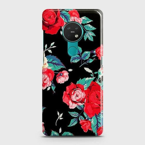 Nokia 6.2 Cover - Luxury Vintage Red Flowers Printed Hard Case with Life Time Colors Guarantee