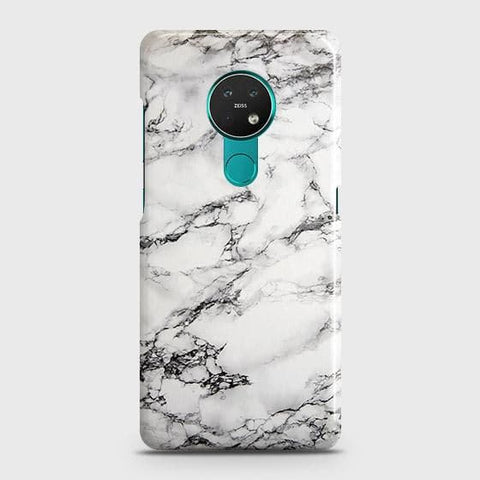 Nokia 6.2 Cover - Trendy White Floor Marble Printed Hard Case with Life Time Colors Guarantee