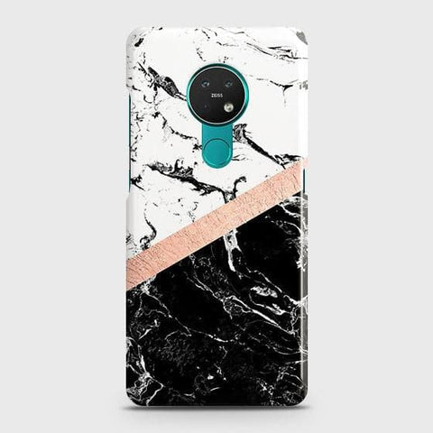 Nokia 6.2 Cover - Black & White Marble With Chic RoseGold Strip Case with Life Time Colors Guarantee
