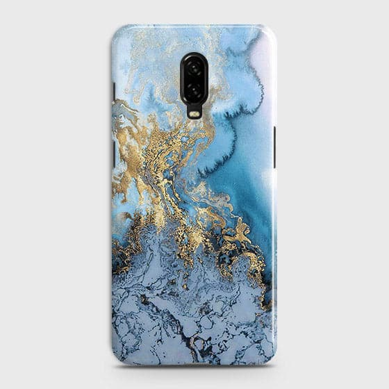 outlet store 1889c c0562 3D Trendy Golden & Blue Ocean Marble Case For OnePlus 6T
