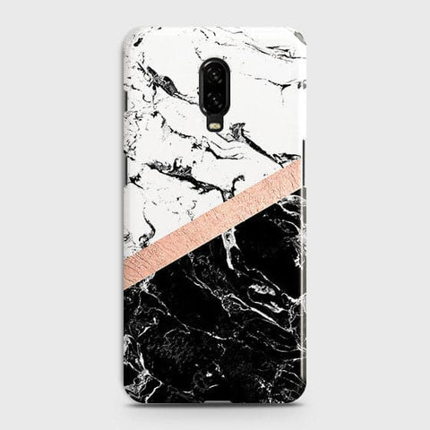 3D Black & White Marble With Chic RoseGold Strip Case For OnePlus 6T