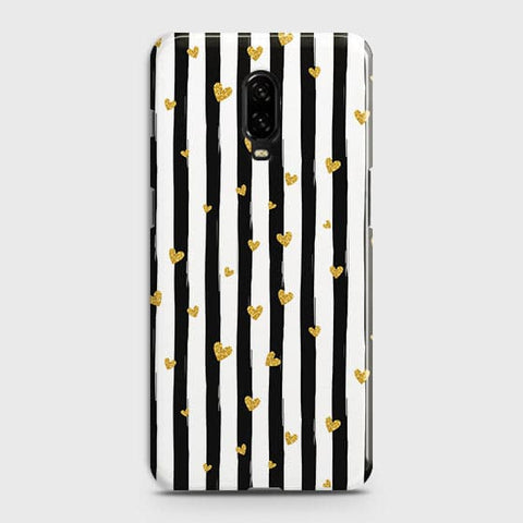 Trendy Black & White Strips With Golden Hearts Hard Case For OnePlus 6T