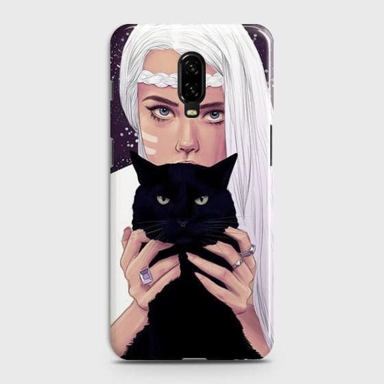 OnePlus 7 Cover - Trendy Wild Black Cat Printed Hard Case with Life Time Colors Guarantee