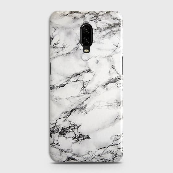 OnePlus 7 Cover - Trendy White Floor Marble Printed Hard Case with Life Time Colors Guarantee