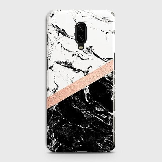 Printed Black & White Marble With Chic RoseGold Strip Case with Life Time Color Guarantee For OnePlus 7
