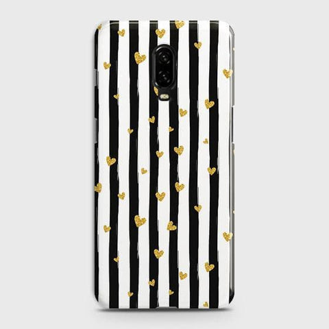 Trendy Black & White Strips With Golden Hearts Hard Case For OnePlus 7