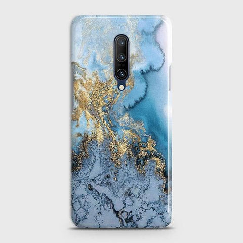 OnePlus 7 Pro Cover - Trendy Golden & Blue Ocean Marble Printed Hard Case with Life Time Colors Guarantee