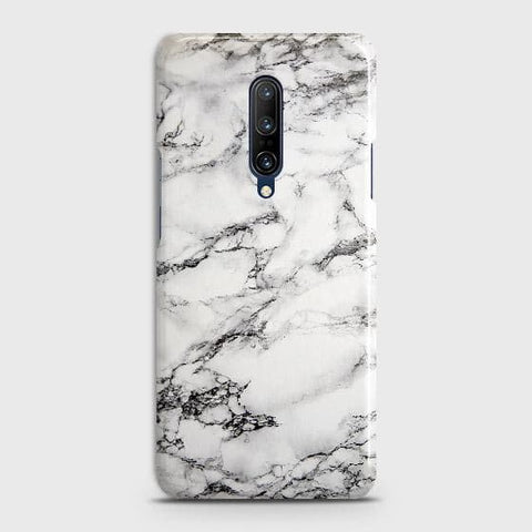 OnePlus 7 Pro Cover - Trendy White Floor Marble Printed Hard Case with Life Time Colors Guarantee
