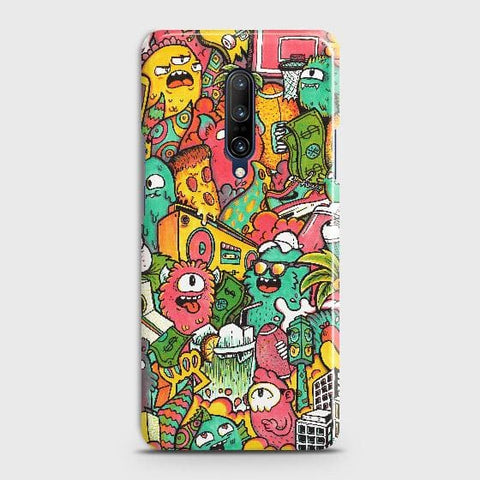 OnePlus 7 Pro Cover - Candy Colors Trendy Sticker Bomb Printed Hard Case with Life Time Colors Guarantee