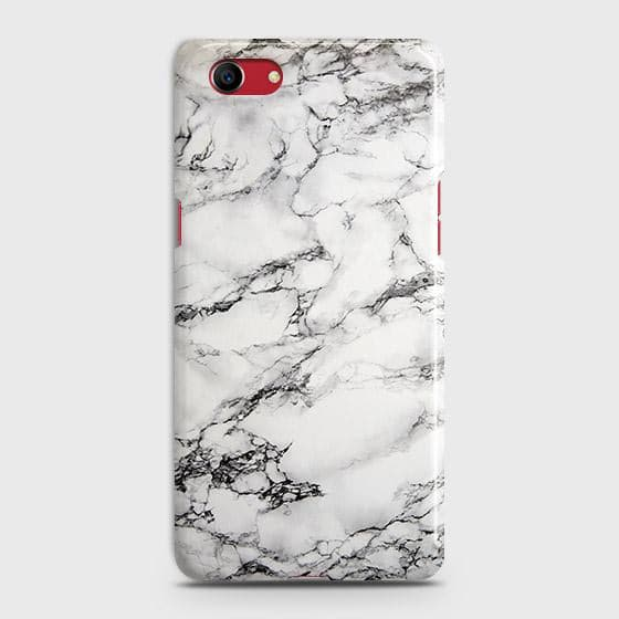 Oppo A1k Cover - Trendy White Floor Marble Printed Hard Case with Life Time Colors Guarantee