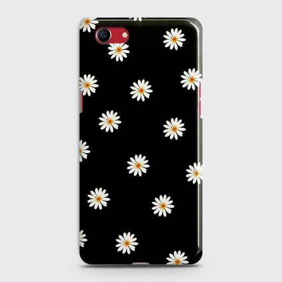 Oppo A1k Cover - White Bloom Flowers with Black Background Printed Hard Case with Life Time Colors Guarantee