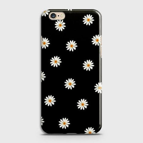 White Bloom Flowers with Black Background Case For Oppo A39
