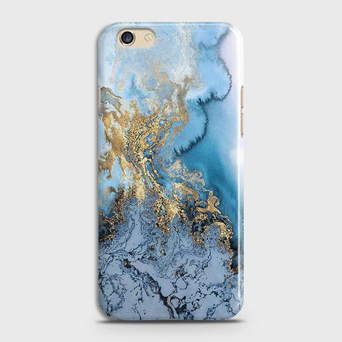 Oppo A59 Cover - Trendy Golden & Blue Ocean Marble Printed Hard Case with Life Time Colors Guarantee
